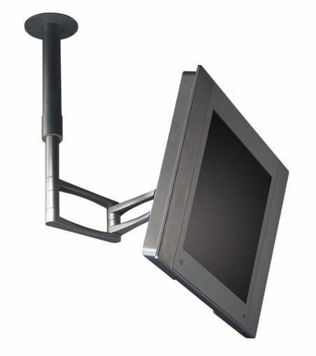 """Soporte de techo - Soporte LCD/Plasma de techo """"CLNG"""" Serie ergonómica de brazos y soportes metálicos de fijación suspendida a techo, para pantallas de LCD / plasma hasta 28 pulgadas y un máximo de 80 kg. Incluyen sistema de extensión VESA y clip pasacables. Acabado en color gris metalizado."""