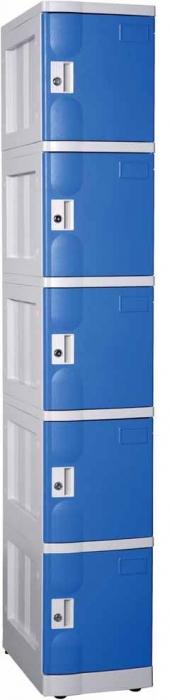 Taquillas en ABS - • Recomendado para ambientes húmedos, piscinas, saunas, etc. • Taquilla fabricada en ABS PP; material ligero y duradero. • Con cerradura de llave. • Con llave maestra. • Llave abisagrada. • Construcción modular. • Cuerpo gris y puerta azul. • Se sirve desmontado. • Fácil montaje.