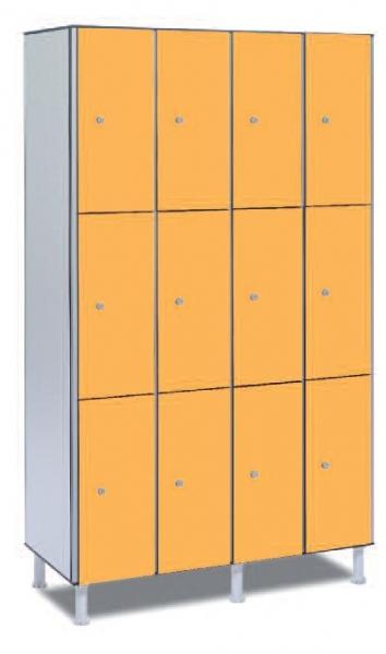 Taquilla fenólica 12 puertas - Taquilla fenólica con perfil de aluminio. Formada a base de láminas de celulosa homogeneizada con resinas fenólicas y compactadas. Núcleo interior negro. Patas de PVC con niveladores. Perfil resistente a la oxidación. Herrajes y tornillería de acero inox. Expesor puerta de 10 y 12 mm.