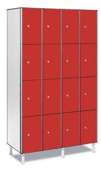 Taquilla fenólica 16 puertas - Taquilla fenólica con perfil de aluminio. Formada a base de láminas de celulosa homogeneizada con resinas fenólicas y compactadas. Núcleo interior negro. Patas de PVC con niveladores. Perfil resistente a la oxidación. Herrajes y tornillería de acero inox. Expesor puerta de 10 y 12 mm.