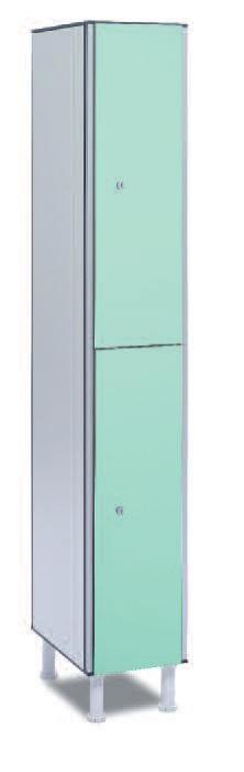 Taquilla fenólica 2 puertas - Taquilla fenólica con perfil de aluminio. Formada a base de láminas de celulosa homogeneizada con resinas fenólicas y compactadas. Núcleo interior negro. Patas de PVC con niveladores. Perfil resistente a la oxidación. Herrajes y tornillería de acero inox. Expesor puerta de 10 y 12 mm.