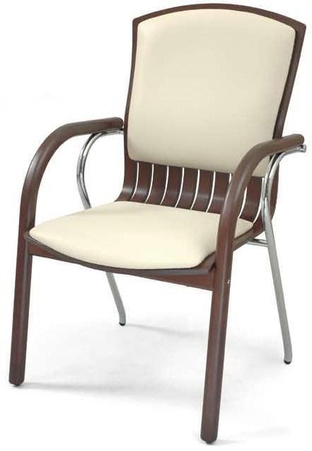Silla confidente - Sillón de dirección, mecanismo relax. Fabricado en madera de haya maciza, base aluminio cromado, brazos y patín combinados en madera y cromo.