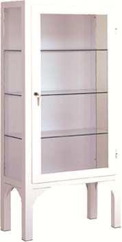 Vitrina - Vitrina clínica una puerta. Fabricada en Acero esmaltado epoxi. Laterales, puertas y entrepaños de cristal Con cerradura de seguridad.