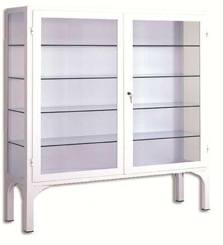Vitrina - Vitrina clínica doble. Fabricada en Acero esmaltado epoxi. Laterales y puertas con lunas de cristal Cuatro entrepaños de cristal. Con cerradura de seguridad.