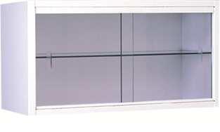 Vitrina - Vitrina mural. Fabricada en su totalidad en Acero esmaltado epoxi. Puertas de luna corredera. Estante de cristal.
