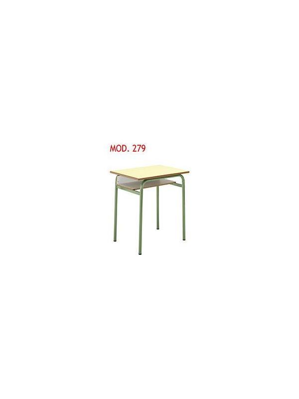 Mesa escolar con bandeja - -Estructura en tubo de acero. -Tapa en Werzalit,en DM laminado con cantos redondeados barnizados con poliuretano o en aglomerado laminado con cantos en PVC negro de 3mm. -Bandeja portadocumentos blanco. -60x50cm.Alta disponible en 60,65,70,75cm