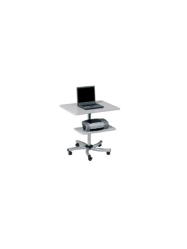 Mesa de ordenador móvil - Mesa de trabajo móvil regulable en altura mediante muelle. La bandeja auxiliar también permite su regulación en altura. Estructura metálica. Perfecta para trabajar de pie o sentado. Fácil montaje.