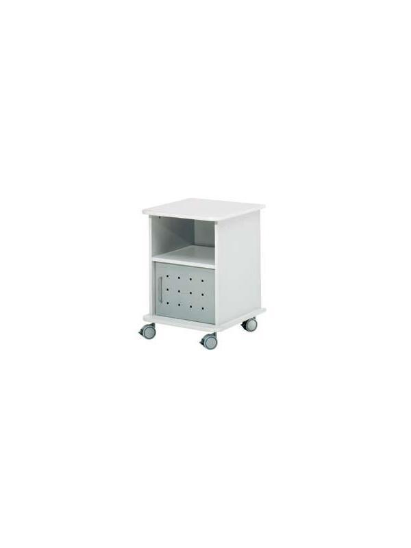 Mesa auxiliar móvil - Mesa móvil de melamina. Perfecta para fotocopiadoras y accesorios de gran formato. Incluye puerta metálica y ruedas de diseño. Fácil montaje.