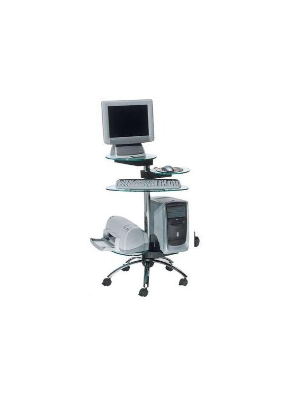 Mesa de ordenador móvil - Mesa de ordenador móvil de estructura cromada de gran diseño, con bandejas de cristal templado regulables en altura. Fácil montaje.        AGOTADO € ( IVA incluido)