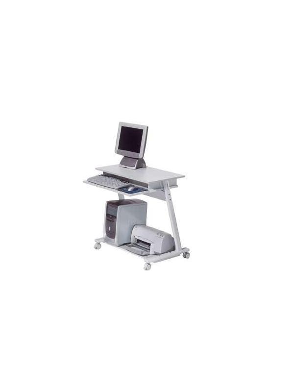 Mesa de ordenador móvil - Mesa de ordenador móvil con sistema de bloqueo en las ruedas delanteras, de estructura metálica con bandeja de teclado extraíble mediante guías y topes metálicos. Fàcil montaje