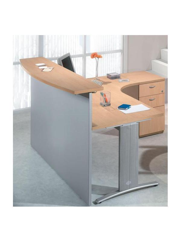 Mostrador / Recepción - -Mostrador para recepciones de 180cm de ancho x 40 cm de profundidad x 109cm de alto -Mesa curva de 180cm de largo x 80 cm de ancho x 74cm de alto -Incluye embellecedores y cogidas a la mesa de oficina