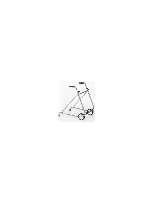 Andador plegable - Andador plegable. Fabricado en Acero Cromado con ruedas de 150 mm. Puños anatómicos. Altura regulable manualmente mediante maniquetas.