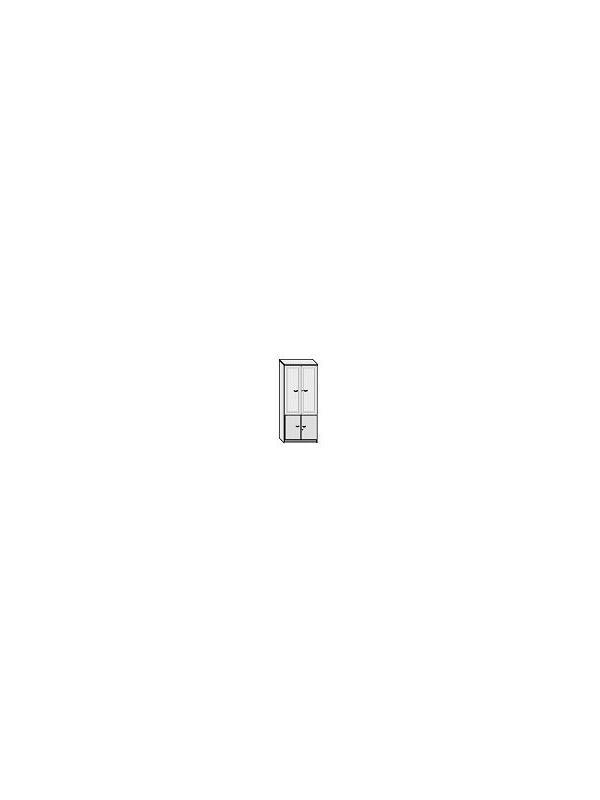Armario alto puertas cristal y puertas bajas - Armario de oficina bajo con puertas superiores de cristal + puertas bajas. 4 estantes regulables.  Con marco en aluminio y cerradura. Medida: 208 alto x 92 ancho x 40 fondo