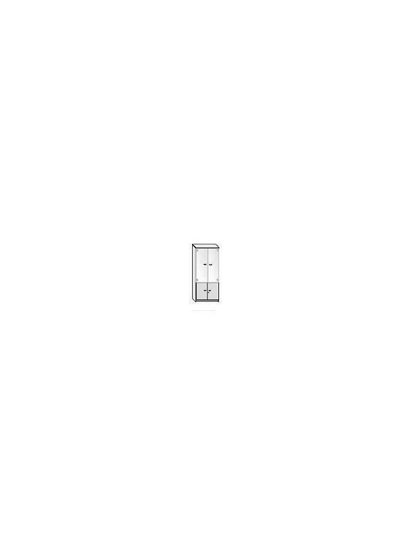 Armario puertas altas de cristal + puertas bajas - Armario de oficina bajo con puertas de cristal sin marco. 4 estantes regulables.  Medida: 208 alto x 92 ancho x 40 fondo
