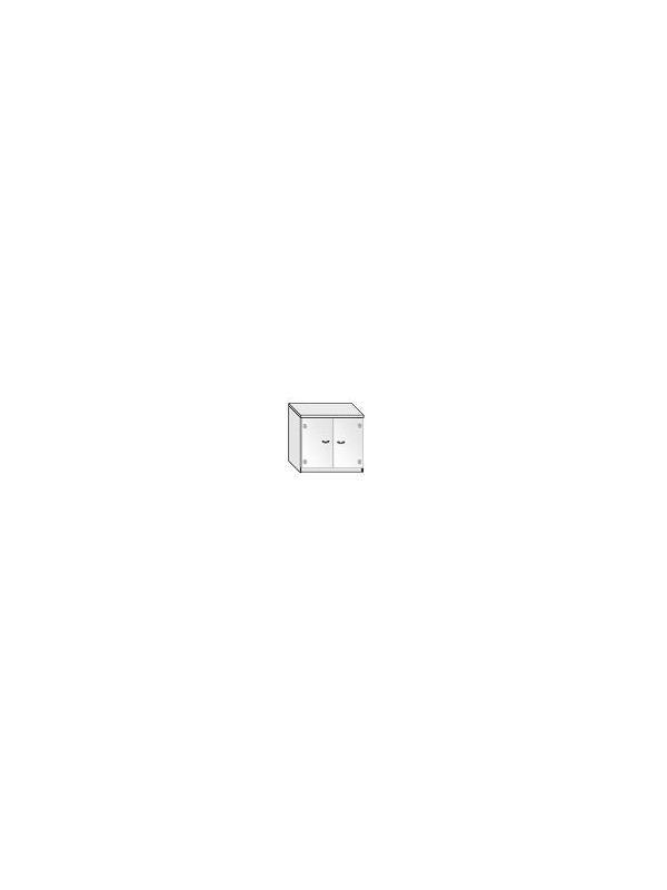 Armario puertas cristal sin marco - Armario de oficina bajo con puertas de cristal sin marco. 1 estante regulable.  Medida: 77 alto x 92 ancho x 40 fondo