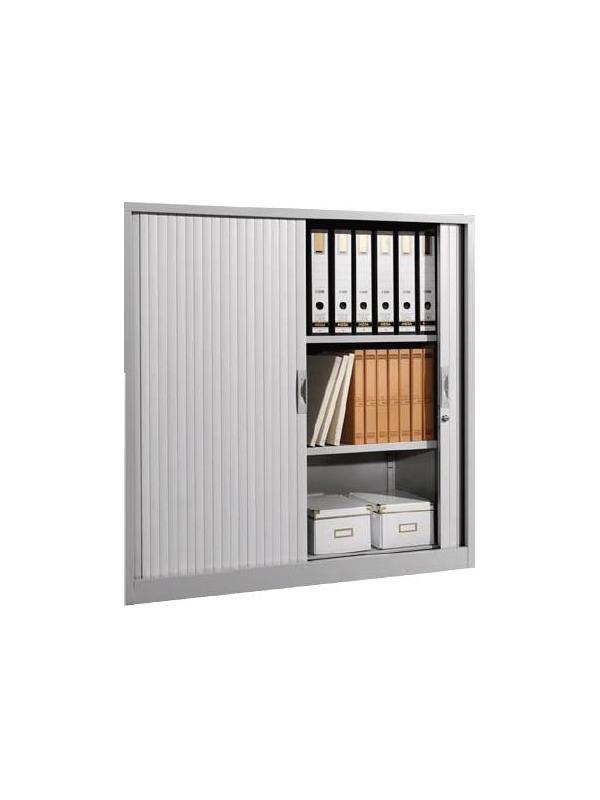 Armario metálico - Armario persiana mediano con 1 estante incluido. Color ral 9006 Medidas exteriores: 450 fondo x 800 ancho x 700 alto mm