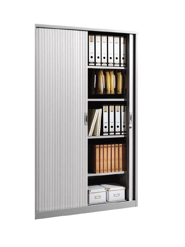Armario metálico - Armario persiana grande con 4 estantes incluidos. Medidas exteriores: 450 x 1200 x 1980 mm