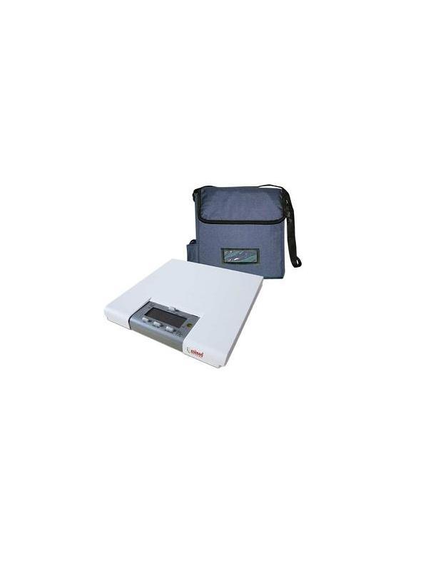 Báscula electrónica - Báscula electrónica de suelo. Sólida y ultraligera. Función de cálculo del IMC. Pantalla LCD con retroiluminación. De fácil manejo permite la inversión de los digitos, facilitando asi la lectura para el profesional y paciente Función de memoria de peso. Funciona mediante conexión a red o batería interna recargable. Incluye bolsa de transporte. Capacidad: 200 Kg. División: 50/100 Gramos