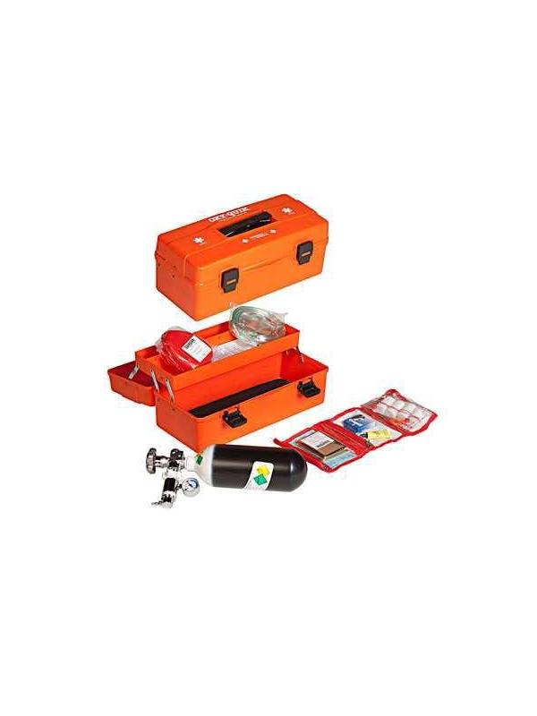 Botiquin - Botiquín con equipo de oxigeno portátil. Maleta de plástico de color Naranja. Cilindro de oxigeno de 300 Litros (Aprox. 50 minutos) Manorreductor de salida constante de 5-6 L. Incluye los siguientes accesorios (Mascarilla de oxigeno, boca a boca con mascarilla adulto/pediátrico con estuche, botiquín de primeros auxilios