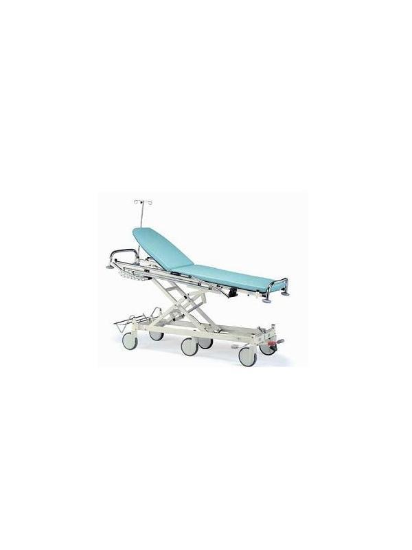 Carros para traslado - Carro traslado pacientes. Construida en Acero Esmaltado epoxi. Altura variable hidráulica de 610 - 990 mm Respaldo elevable mediante piston de gas. Soporte de sueros. Cuatro ruedas, con freno centralizado y una de ellas direccional y empujador para su mejor desplazamiento.