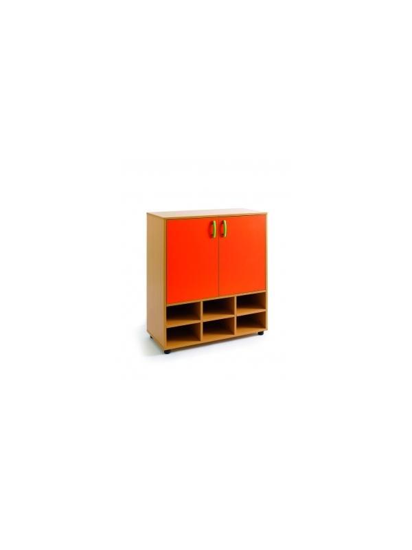 Armario-casillero - Armario-casillero.  Melamina haya. Medidas 113x90x40   2 puertas y 6+2 huecos.