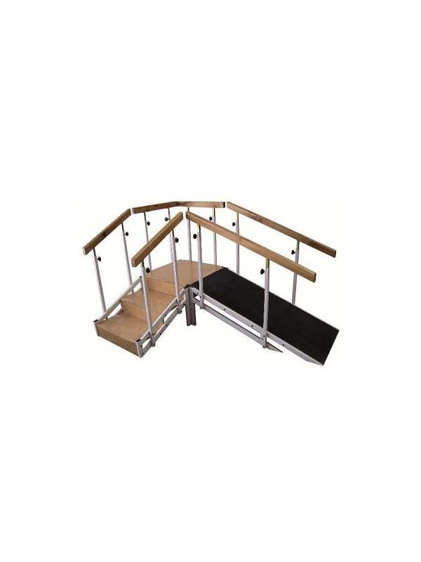 Escalera y rampa - Escalera con rampa. Fabricada en Acero esmaltado epoxi, y acabado de madera. Piso de goma antideslizante. Pasamanos regulables en altura manualmente mediante maniqueta, desde 1 metro a 1.40 metro. Rampa posicionable en ángulo o en línea recta. Tres escalones