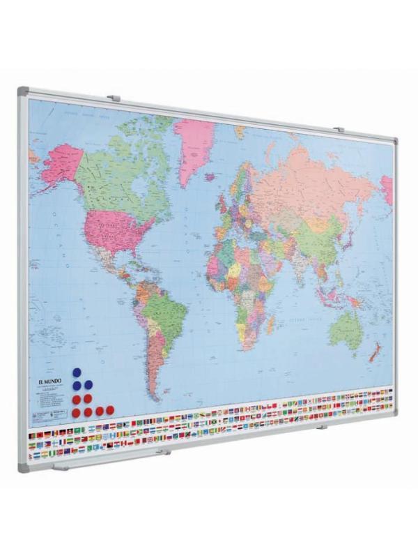 Mapa magnético plastificado y enmarcado con perfil - Mapa magnético. Mapa magnético plastificado y enmarcado con perfil de aluminio anodizado en color plata mate y cantoneras redondeadas de plástico gris. Se pueden fabricar mapas a petición del cliente: regionales, provinciales, callejeros, etc. (suministrados por el cliente).