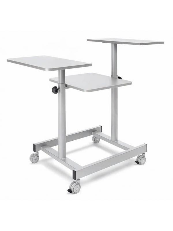 Mesas de proyección - Mesas de proyección Mesa de proyección cómoda y ligera, con ruedas multidireccionales, provistas de freno las delanteras. Toda la gama de mesas tienen la estructura metálica pintada en color gris, y los tableros son de madera melaminada.