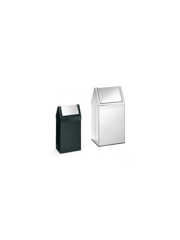 """Papelera metálica  - Papelera metálica """"Swing"""" De acero inoxidable satinado con apertura batiente de mediana capacidad. Ideal para centros comerciales y zonas de exterior.  Disponible 2 tamaños. Cabezal basculante."""
