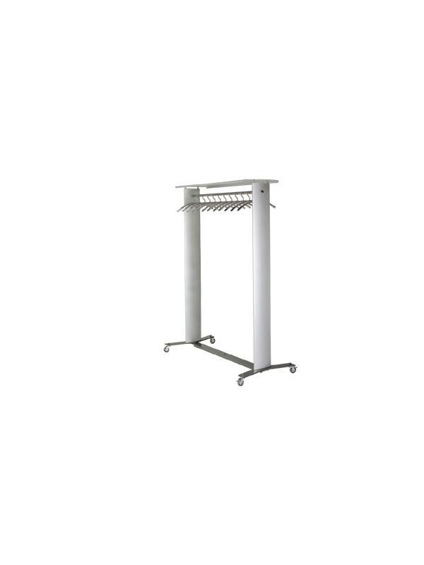 Perchero - Perchero móvil  Con ruedas de gran capacidad  Recomendado para espacios públicos e instalaciones. Columnas en aluminio extrusionado, barras cromadas para posicionar 44 perchas (Perchas no incluidas).