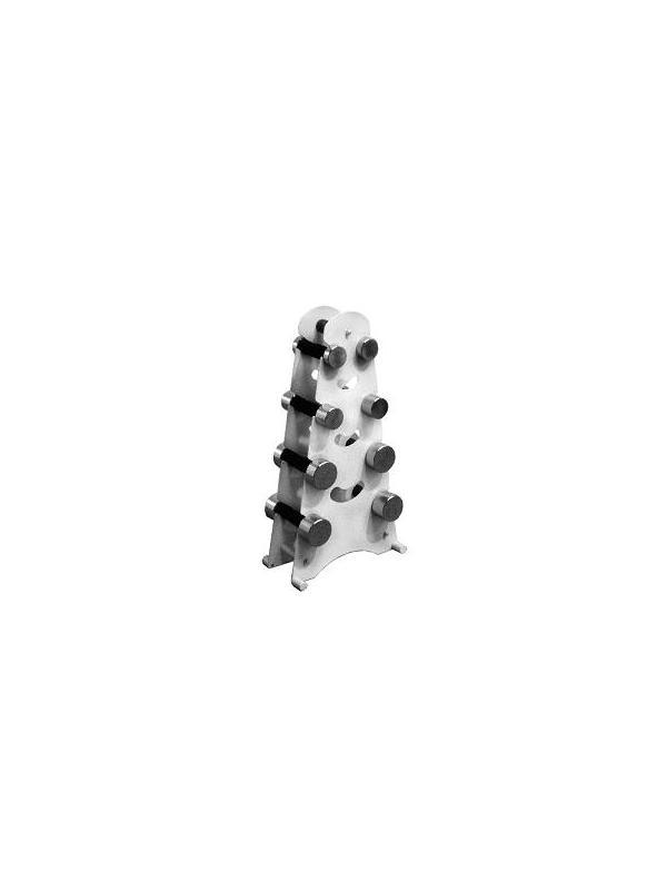 Soporte y juego de mancuernas - Soporte y juego de mancuernas. Fabricado en Acero esmaltado epoxi. Capacidad: 4 pares de mancuernas de 1 a 4 Kg, de Acero Cromado. (Incluidas