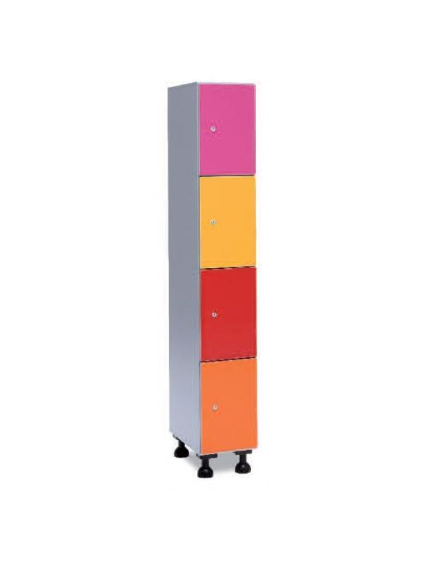 Taquilla hidrófuga puertas melamina - Taquilla de melanina hidrófuga, puertas melamina. Soportes de barra aluminio. Patas de PVC. Posibilidad combinación con otros materiales. Resistente a limpieza agresiva. Cuerpo aluminio, puerta amplia gama de colores. Se sirven montadas.