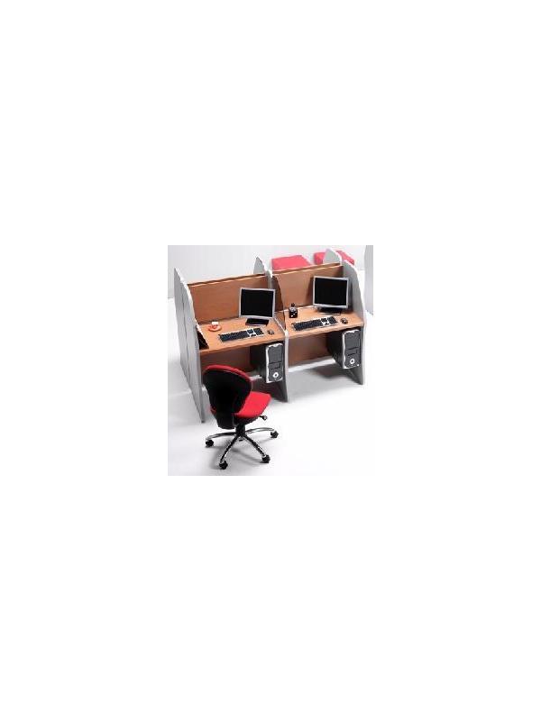 Mesas para teleoperadoras - -Teleoperadoras con 4 plazas. -Incluye patas verticales y faldones inferiores y superiores.