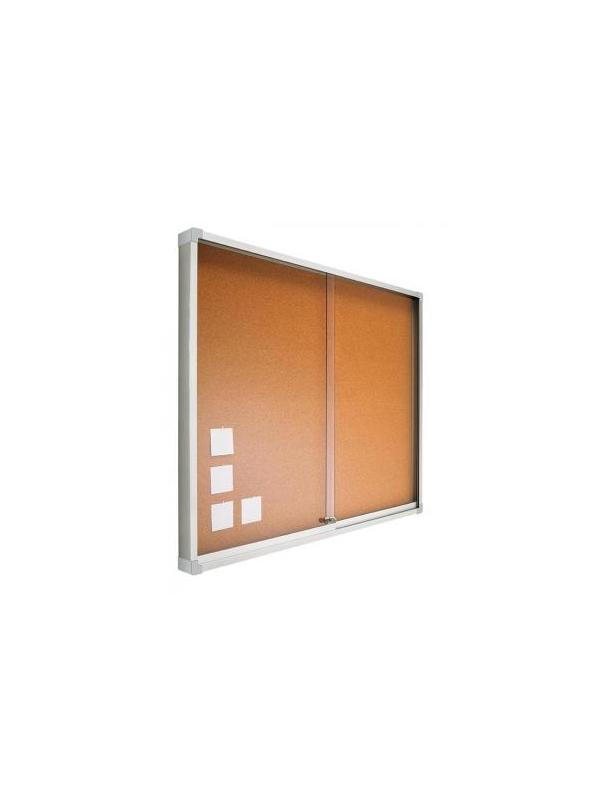 Vitrina - corcho visto con puertas correderas - -Espacio interior 1,2 cm. -Cristal de metacrilato de 0,5 cm. de grosor. -Incluye cerradura y juego de llaves. -100 x 120 (foto y precio) -Disponible en:60x80 - 80x100 y 100 x150x175x200.