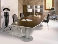 Mesa de reuniones modular - Mesa de reunión modular. Estructura de melamina con canto de PVC de 2 mm de grosor. Cantos redondeados. Patolas de metal. Medidas: 320x120