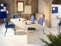 Mesa de reunión - Mesa de reunión. Estructura de melamina con canto de PVC de 2 mm de grosor. Cantos redondeados. Patas de melamina. Medidas: 220x100