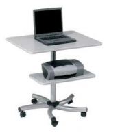 Mesa de ordenador móvil - Mesa de trabajo móvil regulable en altura mediante muelle. La bandeja auxiliar también permite su regulación en altura. Estructura metálica. Perfecta para trabajar de pie o sentado. Fácil montaje.: