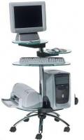 Mesa de ordenador móvil - Mesa de ordenador móvil de estructura cromada de gran diseño, con bandejas de cristal templado regulables en altura. Fácil montaje.