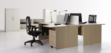 Mesa de oficina compacta 160*120*(80*60)*74 - Mesa de oficina compacta con patola de 160cm de largo x 120cm de ancho x 74cm de alto. (pvp por ud.)
