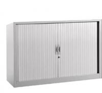 Armario metálico - Armario persiana pequeño con 1 estante incluido. Medidas exteriores: 450 x 1200 x 715 mm
