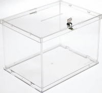 Buzón de sugerencias y/o urna -  Buzón de sugerencias y/o urna. Buzón de sugerencias desmontable fabricado en metacrilato transparente de alta resistencia. Está provisto de cerradura dotada de llave y el montaje es muy rápido. Está homologada para votaciones.