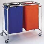 Carro ropa - Carro para transporte de ropa sucia doble. Fabricado en Acero Cromado. Sacos de lona. Cuatro ruedas para su mejor desplazamiento.