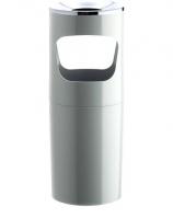 Cenicero-papelera - Cenicero de pie  Con cazoleta metálica cromada en la parte superior.  Colores opacos. Medidas:260 x 640 mm (fondo x ancho x alto) Características:Inyectado en plástico.