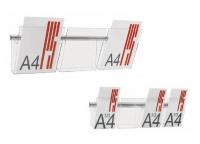"""Expositores / portafolletos murales -  Expositores murales Portafolletos de metacrilato transparente Vision, A4 y 1/3 de A4 que se fijan a la pared mediante un carril de aluminio en forma de """"u"""". Disponibles en formato A4 de 1, 2 y 3 casillas, y en formato tríptico de 2, 4 y 6 casillas."""