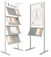 Expositores de información  - Expositores de información. Expositores compuestos por 2 perfiles elípticos verticales de aluminio en plata mate, con estantes metálicos pintados en color gris. Ideal para catálogos y revistas en formato DIN A4. Los estantes pueden situarse en uno o en ambos lados.