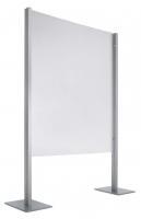"""Biombo - Mamparas modulares """"Quadra"""" Mampara modular """"Quadra"""" provista de perfil de aluminio de 2 metros con base metálica y mampara de PTG, de 2,5 mm. con textura transparente formando cuadrados. La mampara puede montarse sobre los soportes en posición vertical u horizontal indistintamente. Las mamparas pueden concatenarse aprovechando un mismo soporte. Ideal para separaciones en oficinas, salas, recepciones, etc..."""