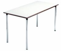 Mesa escolar recta - -Patas desmontables en tubo de acero 40x1,5 cromadas o pintadas con Epoxy-poliéster negro.  -Tapa en DM laminado con cantos rectos barnizados con poliuretano.  -Equipada con nivelador en una pata.ç -140cm x 70cm