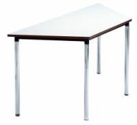 Mesa escolar trapecio - -Patas desmontables en tubo de acero 40x1,5 cromadas o pintadas con Epoxy-poliéster negro.  -Tapa en DM laminado con cantos rectos barnizados con poliuretano.  -Equipada con nivelador en una pata. -140cm x 70cm x 70cm