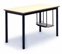 Mesa escolar - -Patas pintada con Epoxy-poliéster negro o verde Ral 6011.  -Tapa y soporte CPU en DM laminado con cantos redondeados barnizados con poliuretano.  -Equipada con nivelador en una pata. -160cm x 70cm