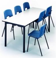Mesa comedor - -Mesa Comedor.  -Sobre la base del mod. 280, subestructura en tubo de acero 16x1,5, pintada igual que la estructura, que sirve para colgar las sillas modelos: 209-C, 282-C, 283-C ó 284-C. -120cm x 80cm